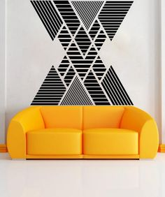 Decal sizes are available. Email us and we will give you a fair price.Some wall decals may come in multiple pieces due to the size of the design.Vinyl wall decals are removable but not re-positionable. Simply peel and sti. Bedroom Wall Designs, Wall Decor Design, Home Wall Decor, Geometric Wall Paint, Geometric Decor, Tape Art, Apartment Interior Design, Interior Walls, Modern Interior