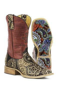 Tin Haul Boots Ladies Tan Leather Paisley Artful Sole Cowboy