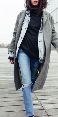 sweater/hoodie + denim jacket + coat layering combo!