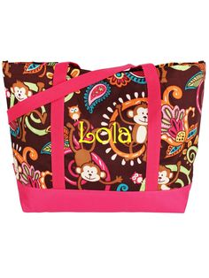 $8.50 Monkey Island Tote Bag with Hot Pink Trim