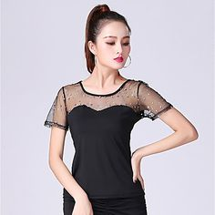 d60df0f9230b Ballroom Dance Tops Women's Performance Milk Fiber Ruching / Split Joint  Short Sleeve Top Women's Dancewear