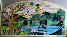 Landscape Mosaic Stained Glass, Mosaic, My Arts, Landscape, Artwork, Painting, Work Of Art, Mosaics, Paintings
