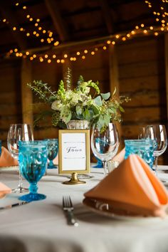 Montana Barn Wedding With Vintage Apricot And Blue Details. Vintage  Glassware, Apricot Napkins,