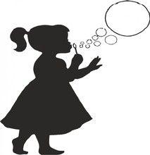 Silueta de niña haciendo burbujas de jabón | Cameo ...