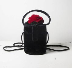 Steampunk Black Velvet Purse Goth Round Box Bag Flower Child