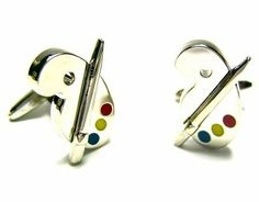 Silver Artist Paint Palette Cufflinks CuffCrazy. $29.99. Money Back if not 100% Satisfied. Free Gift Box Included!. Round Silver Bullet Back Setting