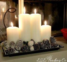 DIY Christmas and Christmas Decorating Ideas - * Jul-Christmas-Noel-Weihnachten * Christmas Candles, Noel Christmas, Christmas Centerpieces, Xmas Decorations, Winter Christmas, All Things Christmas, Christmas Crafts, Centerpiece Ideas, Coffee Table Christmas Decor