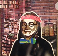 WILLIE AS BIBLIOPHILE -- 12 x 12in -- Mixed Media on Board -- CONTACT: annegenung@gmail.com