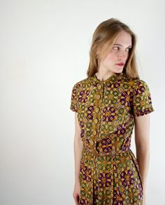 1950s Dress - 50s Floral Cotton Day Dress on Etsy, $89.00