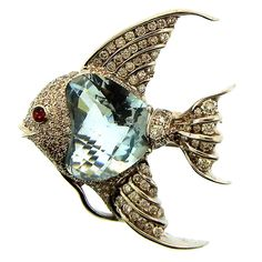 Platinum, Diamond, Aquamarine & Ruby Fish Clip