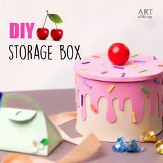 🍒 DIY Storage Box 🍒 - Diy furniture for teens Cool Paper Crafts, Cardboard Box Crafts, Paper Crafts Origami, Foam Crafts, Cute Crafts, Easy Crafts, Diy Crafts Hacks, Diy Crafts For Gifts, Diy Arts And Crafts