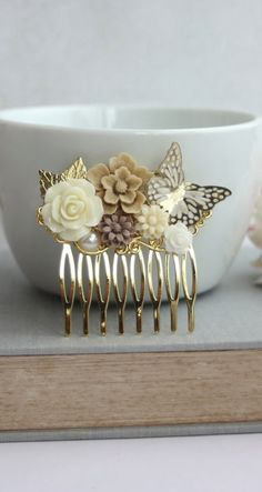 Ivory Rose Flower Gold Butterfly, Brown Latte Flower, Gold Leaf Hair Comb. Gold and Ivory Wedding, Gold Hair Piece Comb. Bridesmaids Gifts By Marolsha.