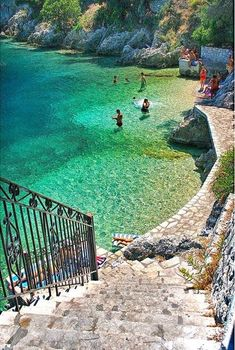 I wish we had gone there on our trip to Greece. Steps to the Sea in Ithaca, Greece Stairway To Heaven, Places Around The World, The Places Youll Go, Places To See, Around The Worlds, Vacation Destinations, Dream Vacations, Vacation Spots, Weekend Vacations