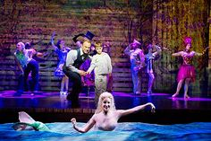 Photo 1 of 12   Norbert Leo Butz as Edward Bloom, Zachary Unger as Young Will, Sarrah Strimel as Girl in the Water and Company in Big Fish   Big Fish: Show Photos   Broadway.com