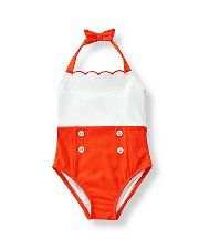 Janie and Jack - Colorblock Swimsuit. Our textured one-piece swimsuit features a retro look with gold-accented button details and embroidered scalloped trim. 96% Nylon/4% Spandex; 100% Polyester Mesh Lining. Accent Bow At Halter Clasp.Machine Washable; Imported, Santorini Sunset Color : Bright Tangerine ($44.00 Item #100020757)