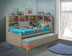 Balllini Single & King Single Trundle Bed is a very modern and practical bedroom solution for boys or girls. Bed includes bookcase bedhead and surround bookcase with Trundle. Bunk Bed With Trundle, Kids Bunk Beds, Toddler Bed With Storage, Bunk Beds With Storage, Bed Storage, Kids Single Beds, Bunk Bed With Desk, Modern Bunk Beds, Child Room