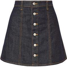 Alexa Chung For AG Jeans Kety denim mini skirt ($180) ❤ liked on Polyvore featuring skirts, mini skirts, saia, dark blue, short skirts, a line skirt, short a line skirt, dark blue skirt and denim miniskirt
