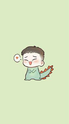 Chen dinosaur wallpaper (^o^)/ Exo Chen, Chanyeol, Kpop Exo, Chibi Exo, Exo Cartoon, Exo Stickers, Exo Anime, Dinosaur Wallpaper, Chibi Wallpaper