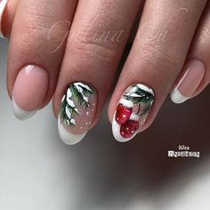 50 Beautiful Stylish and Trendy Nail Art Designs for Christmas Frensh Nails, New Year's Nails, Cute Nails, Pretty Nails, Xmas Nail Art, Xmas Nails, Holiday Nails, Christmas Nails, Gel Nagel Design