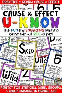Students love playing U-Know games for fun REVIEW of cause and effect or for test prep. It's a perfect activity for any small group or station, and great for early finishers. Cause and Effect U-Know is a fun learning game played similar to UNO except if you get an answer wrong, you have to draw two! Students will beg to practice cause and effect in this way! Available in MANY other topics, too!