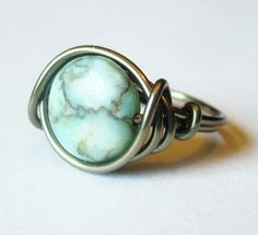 Boho Ring  Turquoise Jewelry Wire Wrapped by DistortedEarth, $11.00