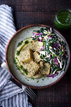 Hemp Crusted Tofu with Celeriac Puree | Feasting At Home
