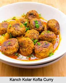 Kanchkolar Kofta Curry is a traditional Bengali recipe of green (unripe) bananas, boiled, mashed and given a shape of flat disc which are fried and dipped in a creamy curry. For more information visit: