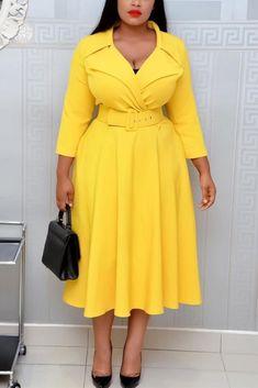 Fashion Sexy Long Sleeve Yellow Dress African Fashion Dresses, African Dress, Fashion Outfits, Style Fashion, Cheap Fashion, Trendy Outfits, Trendy Fashion, Latest Fashion, Yellow Long Sleeve Dress