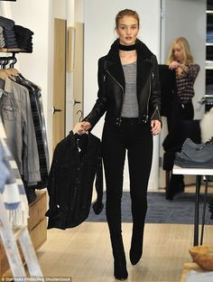 Casual day: Rosie Huntington-Whiteley was spotted doing some shopping at celeb-favourite T...
