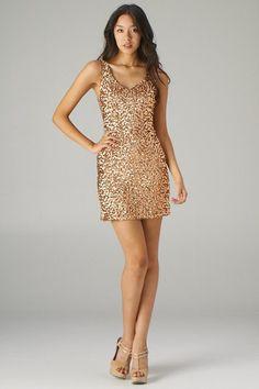 Gold Sequin Mini Dress with Chain Straps \u003c Sexy Dresses