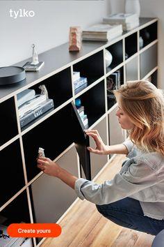 Diy Furniture Hacks, Furniture Design, Furniture Storage, Black Sideboard, Home Gadgets, Home Living Room, Shelving, Home Goods, Perfect Fit