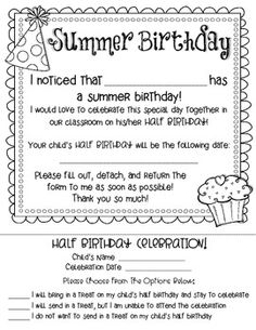 Summer Birthday - Half Birthday Celebration Form {Free}