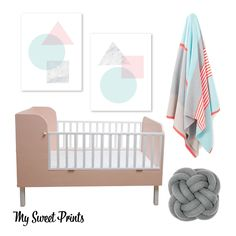 Blush, Aqua, Marble, Grey Nursery. Abstract art, knot cushion, blush cot, country road blanket. All links in post!