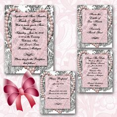 PRINTABLE WEDDING INVITATION Pearls and lace by ChangingArtitudes