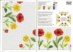 123 Cross Stitch, Cross Stitch Charts, Cross Stitch Designs, Cross Stitch Embroidery, Embroidery Patterns, Hand Embroidery, Cross Stitch Patterns, Rico Design, Red Poppies