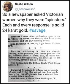 Tagged with funny, the more you know, savage, spinster; More Victorian gold Funny Quotes, Funny Memes, Jokes, Funny Tweets, 9gag Funny, Memes Humor, Faith In Humanity, History Facts, Laugh Out Loud