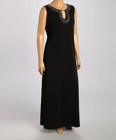 Another great find on #zulily! Black Embellished Notch Neck Maxi Dress - Plus by Tiana B #zulilyfinds