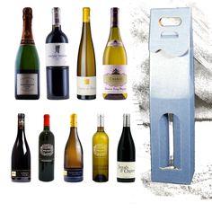 Pudełko na wino niebieskie kaszerowane