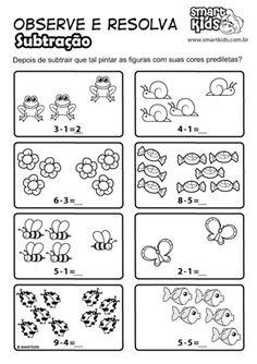 Resultado de imagem para atividades de  subtração com figuras simples English Worksheets For Kindergarten, Printable Preschool Worksheets, Printable Numbers, 1st Grade Worksheets, 1st Grade Math, Preschool Activities, Math For Kids, Lessons For Kids, Subtraction Worksheets