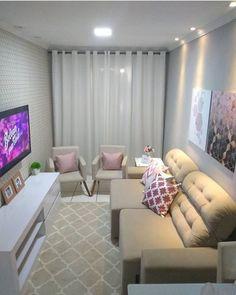 Sala pequena decorada: 70 inspirações e ideias para você! Home Living Room, Living Room Designs, Living Room Decor, Bedroom Decor, Small Apartment Decorating, Small Living, Modern Living, House Design, Home Decor