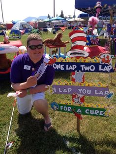 A cute Dr. Seuss themed sign from Relay For Life, Lakeport CA Fundraising Events, Fundraisers, Relay Games, Dance Marathon, Cancer Walk, Relay For Life, Event Themes, Dr Suess, Breast Cancer Awareness