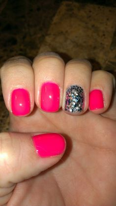 Neon pink gelish with turquoise and silver glitter