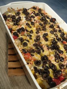 Berry Happy Bodies    5-Layer Mexican Polenta    Ingredients 1 16-ounce tube of polenta, cut into slices 30 ounces of black beans (prewashed and cooked or canned) 10 ounces of whole-kernel corn 1 onion, chopped 2 peppers, chopped (your favorite — I