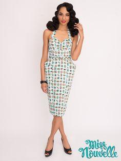Miss Nouvelle - Darla Dress, Atomic - vintage inspired, blue, pink, retro, pinup, 1950s, rockabilly