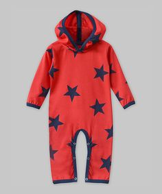 Another great find on #zulily! Red & Navy Stars Hooded Playsuit - Infant #zulilyfinds