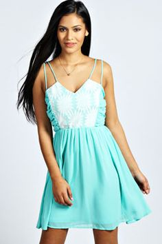 Grace Sunflower Lace Chiffon Skater Dress at boohoo.com
