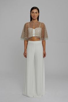 Evening Skirts, Palazzo Trousers, White Bralette, High Neck Top, Tailored Jacket, Mink, Chiffon, London, Wedding Dress