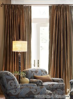 Fan Pleated Draperies from the Pheasant Hunt Fabric Collection LOVE the colors