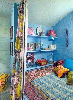 romany gypsy caravan interior: pretty blue color.