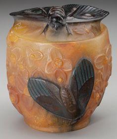 ALMERIC WALTER, PATE-DE-VERRE GLASS CICADA COVERED BOWL, Designed by Henri Bergé, Nancy, France, circa 1920. Marks: A, Berg...